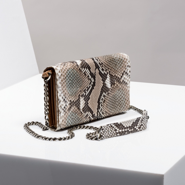 Claris Virot: Wallet On Chain Silver Drew Beige Painted Python Leather - Hiphunters Shop