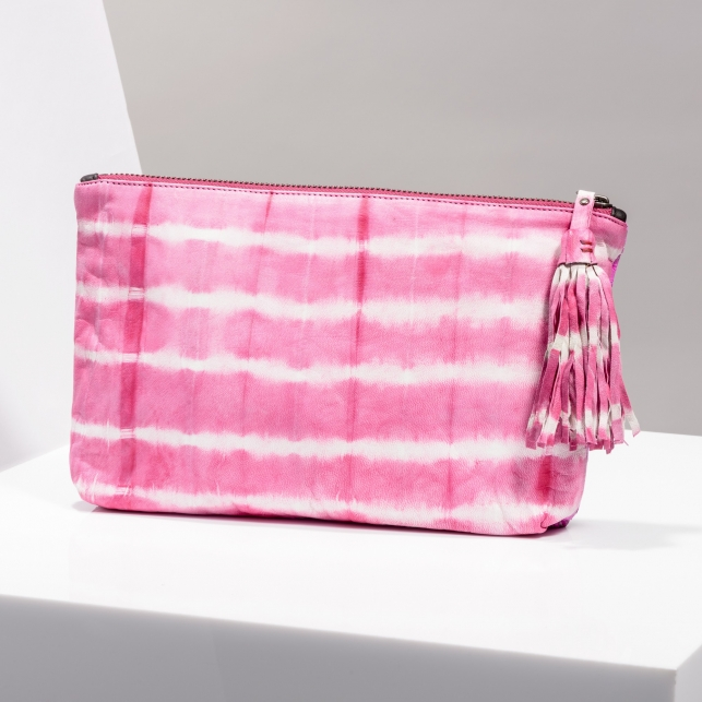 Claris Virot: Clutch Andy Python Leather/ Tie & Die Pink - Hiphunters Shop