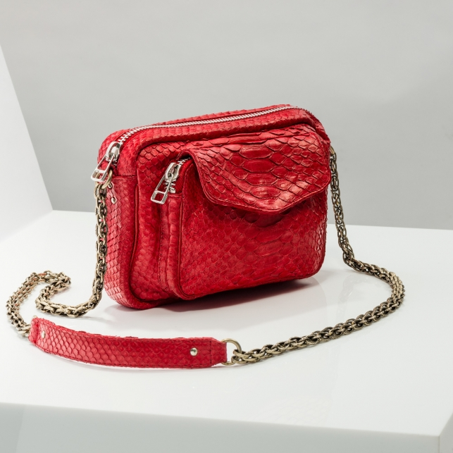 Claris Virot: Silver Chain Red Charly Bag - Hiphunters Shop