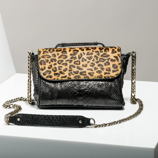 Claris Virot: Black Python and Printed Leopard Charlotte Handbag - Hiphunters Shop