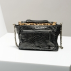 Claris Virot: Black Python and Printed Leopard Charlotte Handbag | Bags,Bags > Handbags -  Hiphunters Shop