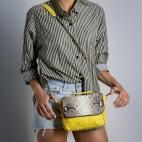 Claris Virot: Yellow Tricolor Charlotte Handbag  | Bags,Bags > Handbags -  Hiphunters Shop