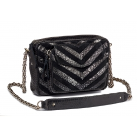 Python Silver Chain Black Charly Bag