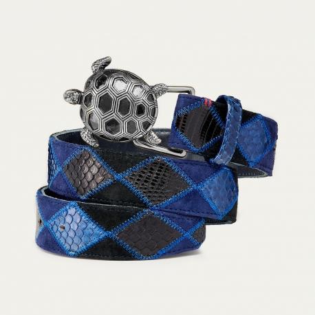 Blue Patchwork Python Belt Turtle Silver Buckle