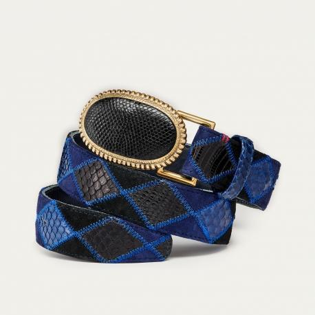 Blue Patchwork Python Belt Dallas Black Buckle