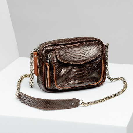 Claris Virot: Bag Charly Chocolate Gold Chain - Hiphunters Shop