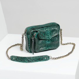 Sac Bandoulière Charly Vert Sapin Chaine Argent