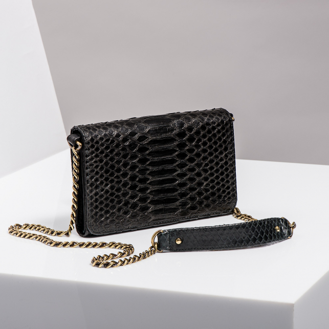 Claris Virot: Wallet On Chain Gold Drew Black Python Leather - Hiphunters Shop