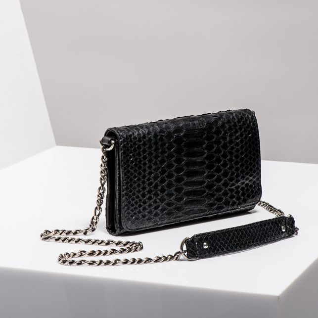 Claris Virot: Wallet On Chain Silver Drew Black Python Leather - Hiphunters Shop