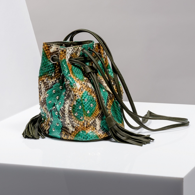 Claris Virot: Bucket Bag Green Painted - Hiphunters Shop