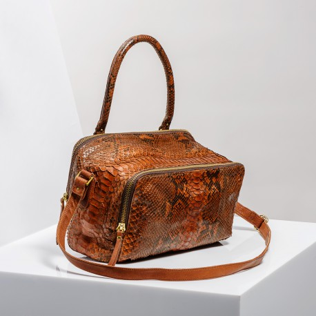 Claris Virot: Bag Lalya Python Leather Moka - Hiphunters Shop