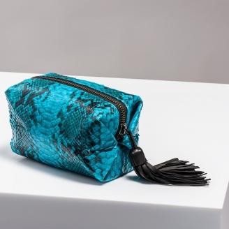 Trousse Paulette Python Turquoise