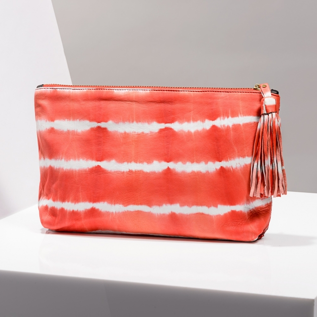 Claris Virot: Clutch Andy Python Leather/ Tie & Die Pimento - Hiphunters Shop