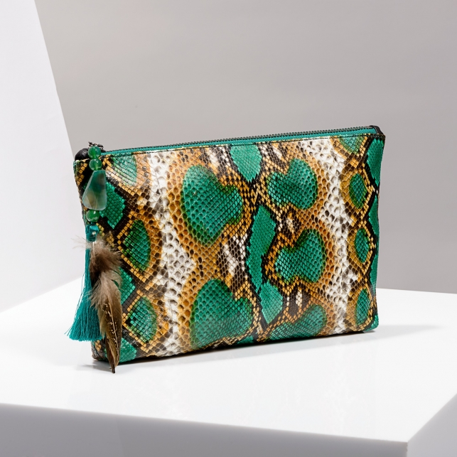 Claris Virot: Clutch Andy Python Leather Green Painted - Hiphunters Shop