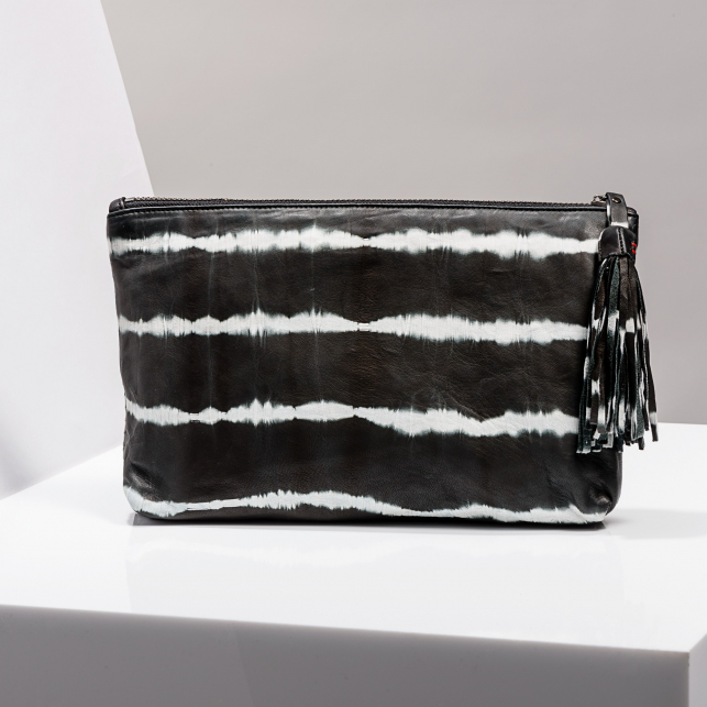 Claris Virot: Clutch Andy Python Leather/ Tie & Die Black - Hiphunters Shop