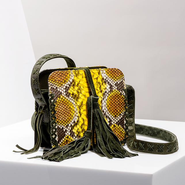Claris Virot: Shoulder Strap Chiara Bag Yellow Painted - Hiphunters Shop