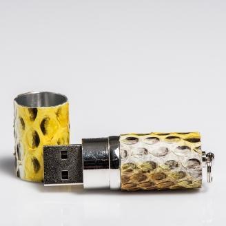 Clé USB habillée jaune painted