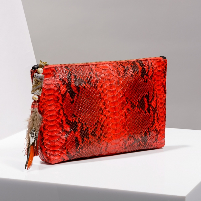 Claris Virot: Clutch Andy Python Leather Pimento - Hiphunters Shop