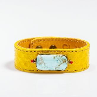 Bracelet Python Leather Yellow Painted