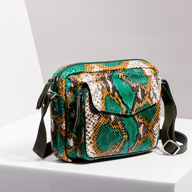 Claris Virot: Big Charly Python Leather Green Painted  - Hiphunters Shop