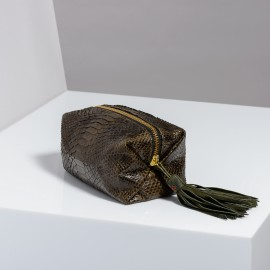 Trousse Python Paulette Dark Kaki