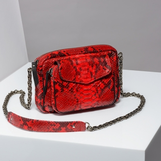 Sac Bandoulière Python Charly Rouge Painted Chaîne Argent