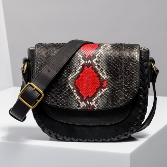 Sac Besace Andrea Noir Rouge Painted