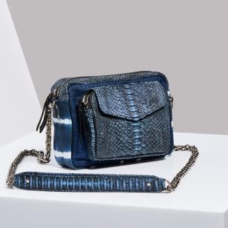 Sac Bandoulière Python Charly Denim/ Tie & Dye Bleu Chaine Argent