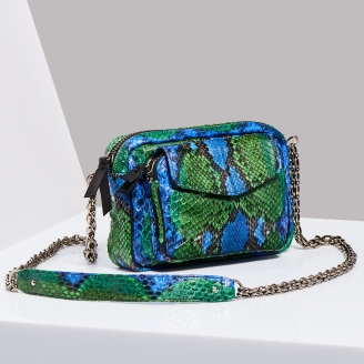 Sac Bandoulière Python Charly Green Blue Chaîne Argent