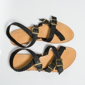 Sandales Python Fanny Noires