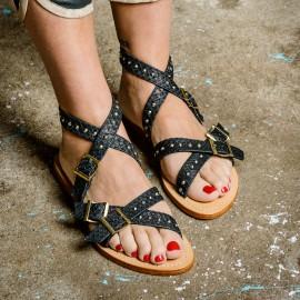 Sandales Fanny Noir Cloutées