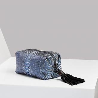 Trousse Paulette Python Bleu Métallique