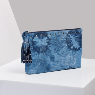 Pochette Andy Denim Tie & Dye Clouté