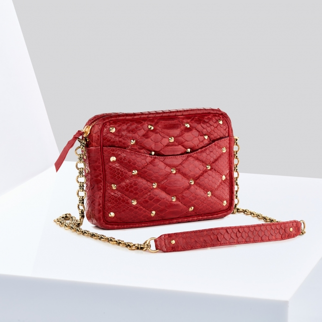 Sac Python Kate Rouge Clous Or