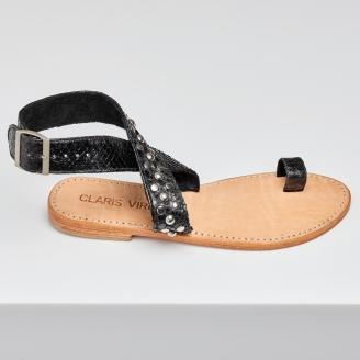Sandales Python Lea Noires Cloutées