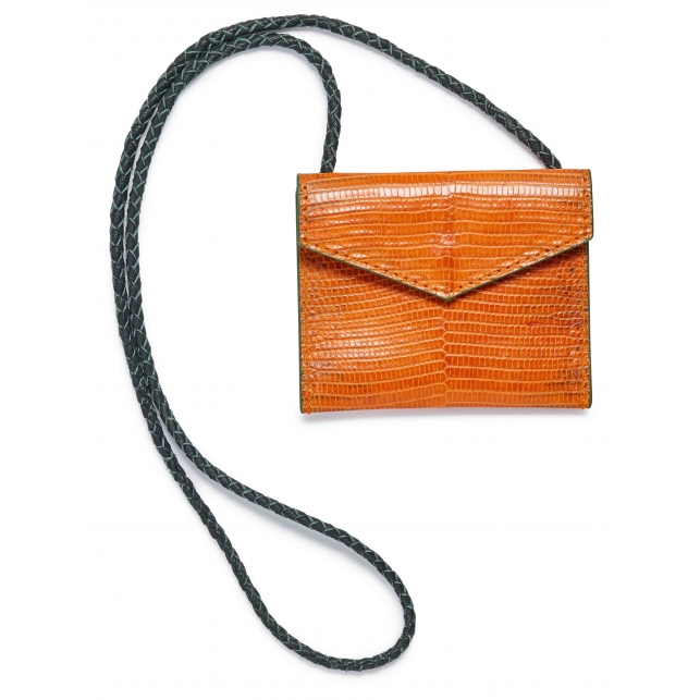 Orange Lizard Card Holder Sasha