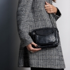 Bag Crocodile Charly Black Silver Chain