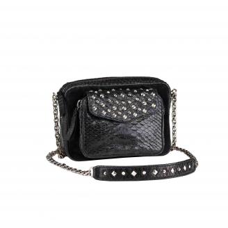Python Black Studded Charly Bag