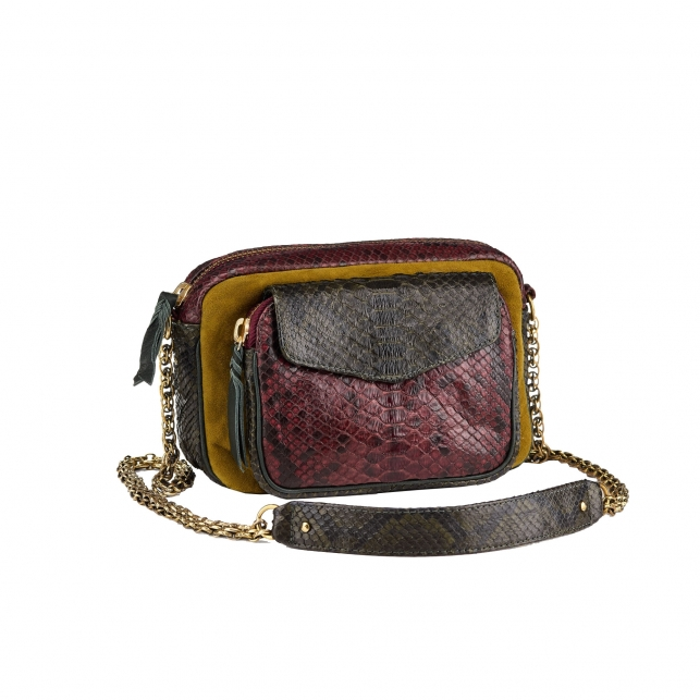 Sac Python Charly Tricolore Moutarde
