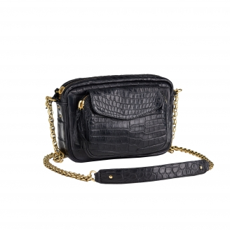 Bag Crocodile Charly Black Gold Chain