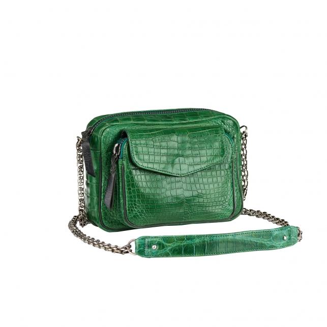 Bag Crocodile Charly Matcha Silver Chain