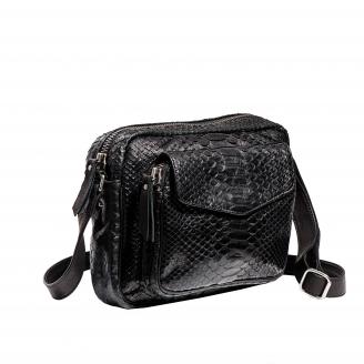 Big Charly Python Black Silver Metal Shoulder Bag