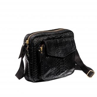 Big Charly Python Black Gold Metal Shoulder Bag