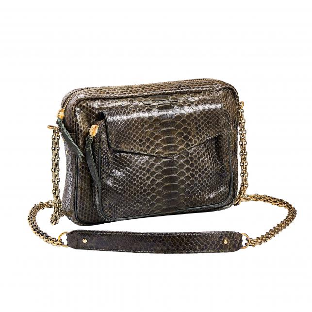 Python Bag with chain Big Charly Dark Kaki