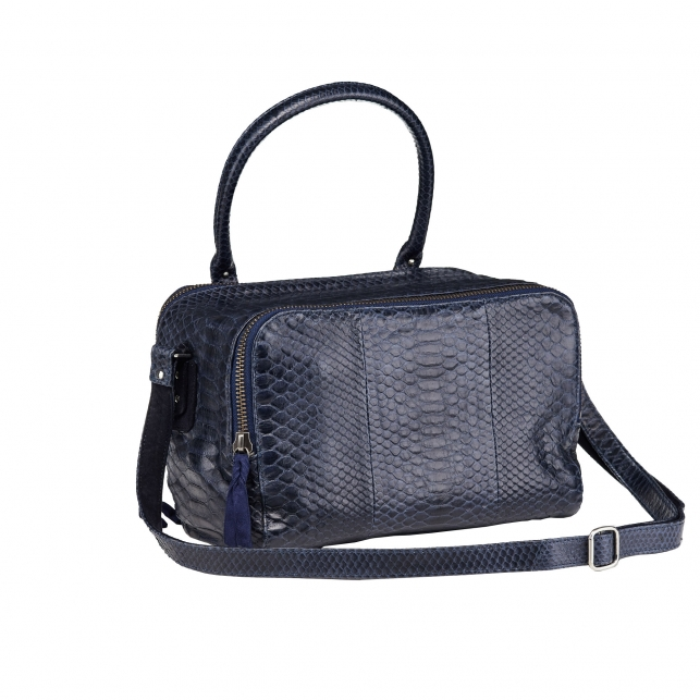 Lalya Navy Python Shoulder Bag