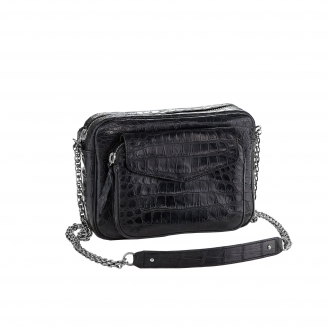 Bag Crocodile Big Charly Black Silver Chain