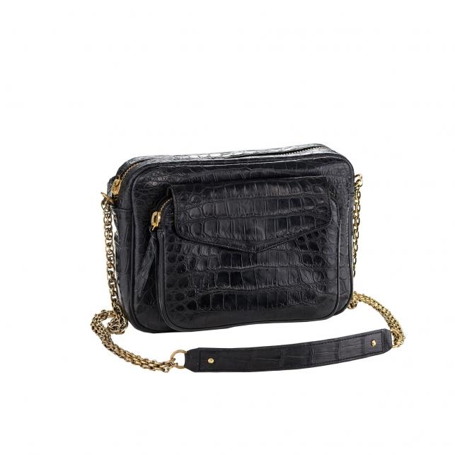 Bag Crocodile Big Charly Black Gold Chain