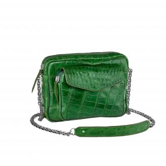 Bag Crocodile Big Charly Matcha Silver Chain