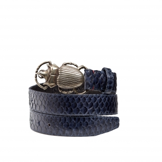 Navy Python Belt Beatle Silver Buckle