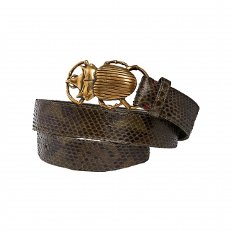 Dark Kaki Python Belt Beatle Gold Buckle